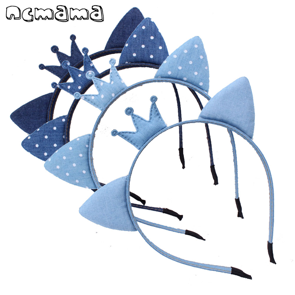 Multi Kinds Denim Hairband Girls Dot Kitten Ears Crown Bow Hair Band Handmade Cute Jeans Headband Kids Hair Accessories