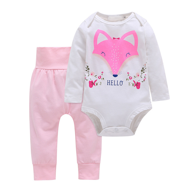 Cuikevin 2018 Baby Girl Clothes Newborn Toddler Infant Autumn/Spring Cotton Baby Rompers+ Baby Pants Baby Clothing Sets 2pcs/