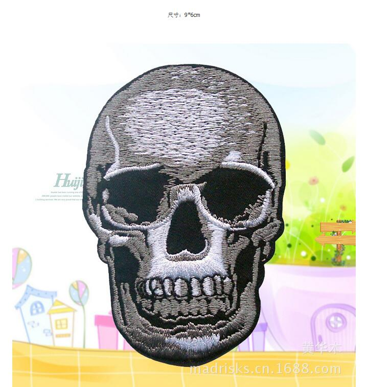 New Skull Skeleton Key Rockabilly Embroidered Iron On Applique Patch