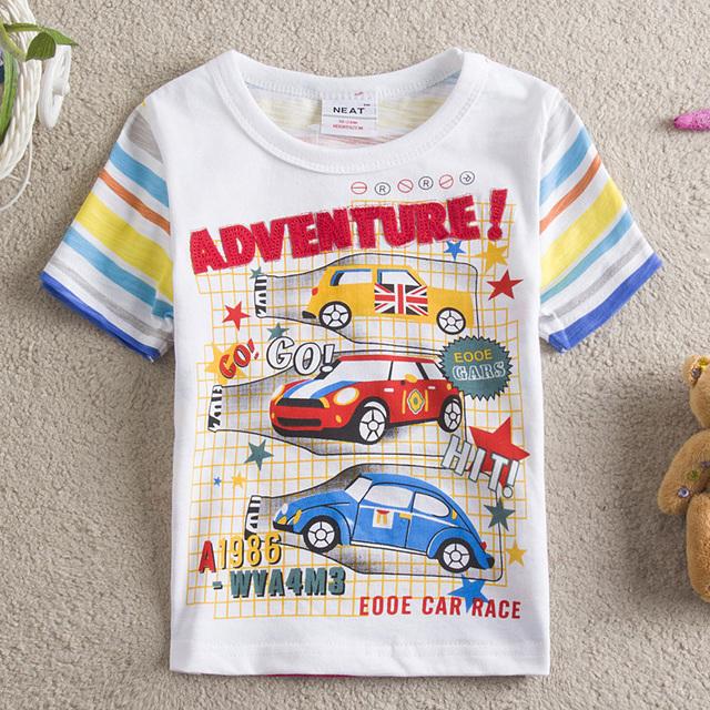 2014 New Kids NEAT 100% algodão padrão carro ute bebê MENINOS roupas de verão de manga curta T-shirt crianças kintted 5 pçs/lote S8105 #