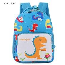 все цены на Cute Cartoon Dinosaur Printed School Bags for Kindergarten Girls Boys Kids Backpacks Children Anti-lost Bags Nursery Bag