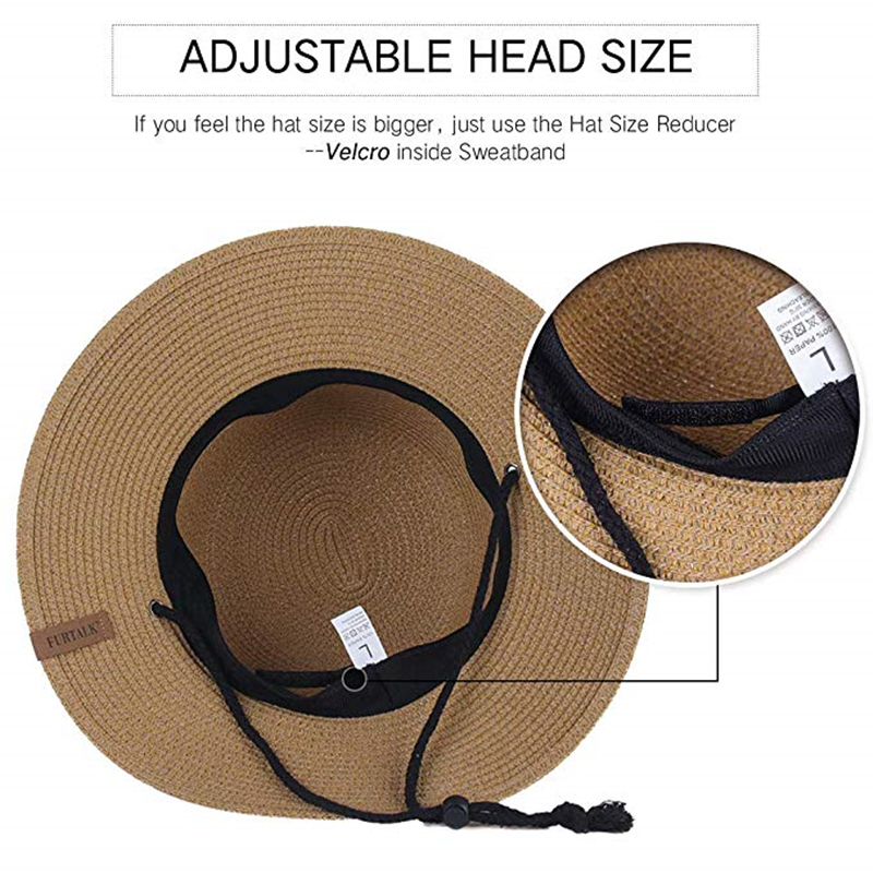 Image 4 - FURTALK Summer Hat for Women Straw Hat Beach Sun Hat Female Wide Brim UPF 50+ Sun Protection Bucket Hats Cap with Wind Lanyard-in Women's Sun Hats from Apparel Accessories