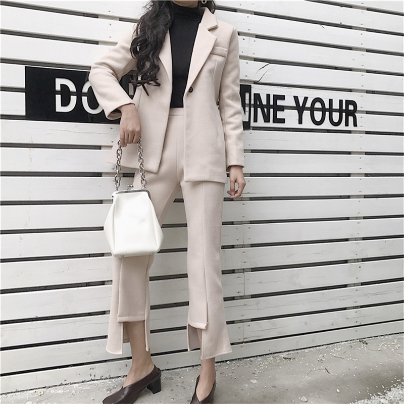 Ceinture Laine Pantalons Nouveau 2 Chaud Blazer 2018 Travail Veste Avec Fendus amp; Rugod coffee Lady Chic Pièce Femmes Ensembles Beige Costumes Office Élégante TvInw