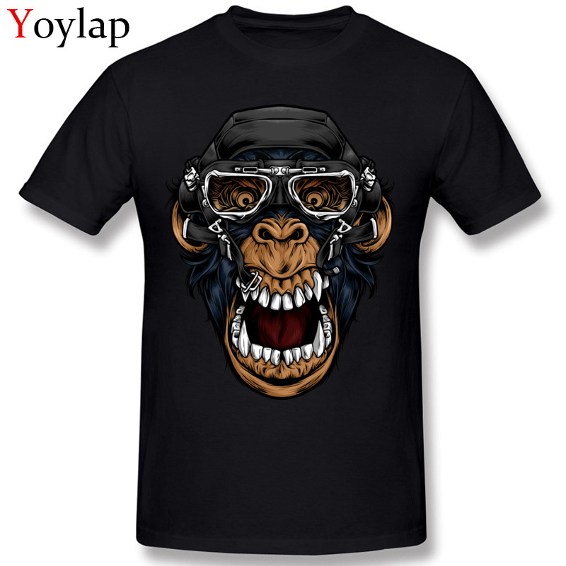 Summer Stylish Funny Men's Cotton   T     Shirt   Pilot Monkey Tshirt Gas Mask O Neck Tops Tees Unique Hipster Homme   T  -  shirt