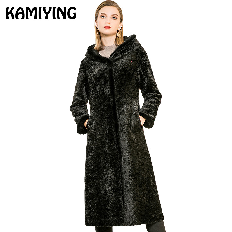 Kamiying Huge Dimension Pure Shade Mid Size Fur Girls's Coat 2018 Winter New Model Faux Fur Trendy Girls's Fur Coat Pkhd711