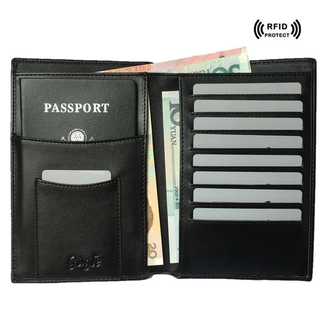 385e6b7cbf7 Rfid Blocking Credit Card Holder Passport Wallet Top Quality id Card  Protector Travel Wallet Business Men