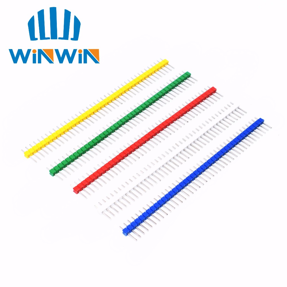 10pcs 40 Pin 1x40 Single Row Male 2.54 Breakable Pin Header Connector Strip  White/black/red/blue/green/yellow