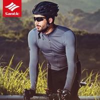Santic Cycling Jerseys Men Long Sleeve Bike Clothing Full Zipper Breathable Sun protective Road MTB Spring Summer Bicycle Coat
