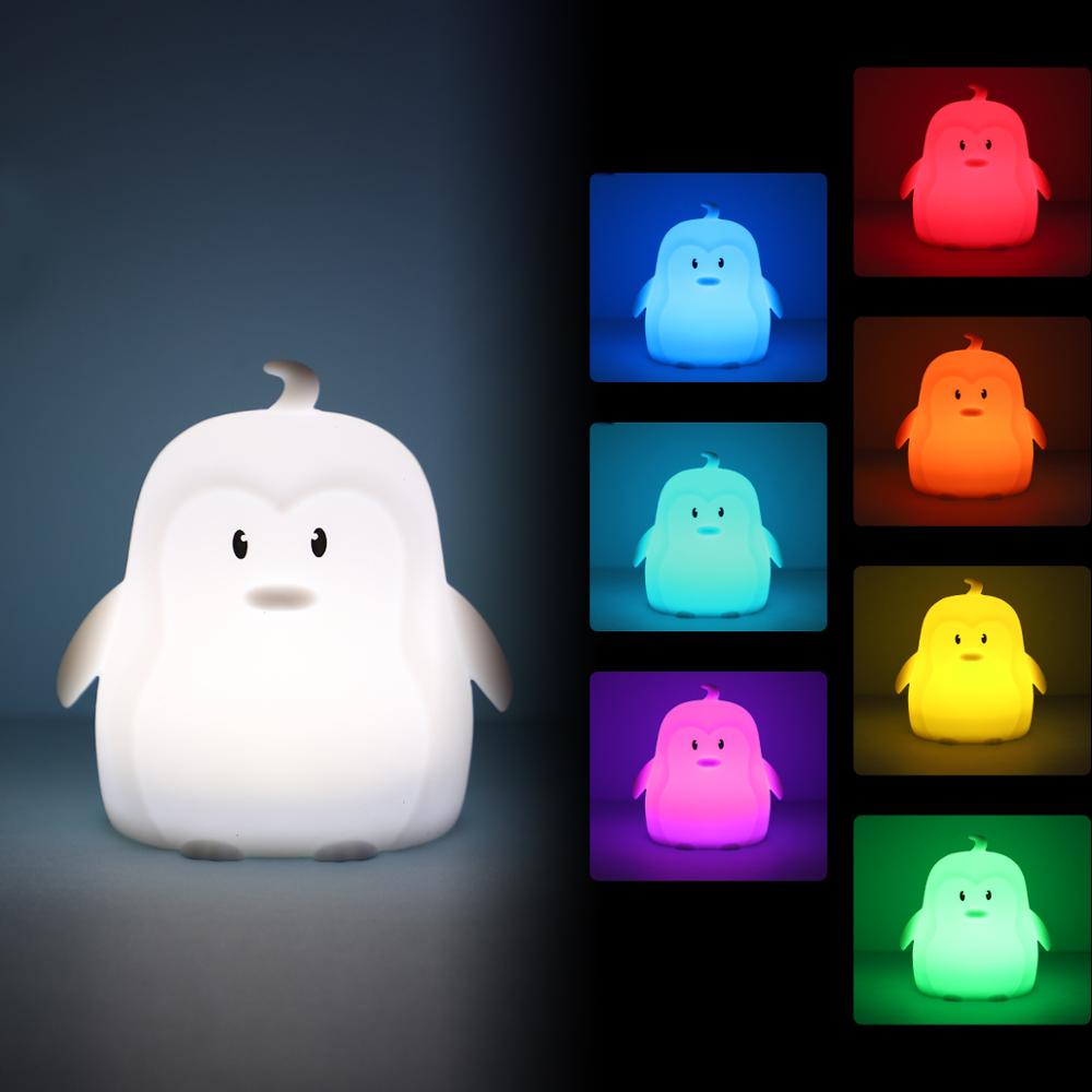 Mini Penguin LED Night Light Portable 9 Colors LED Night Lamp Cartoon Silicone Bedroom Bedside Lamp For Children Kids Baby Gift