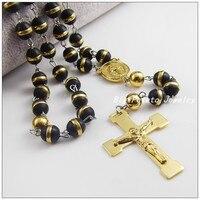 72 cm * 8mm nowy przyjeżdża złota jezus krzyż wisiorek ze stali nierdzewnej z czarny sweter łańcuch koralik mężczyzna kobiet naszyjniki, dobry prezent