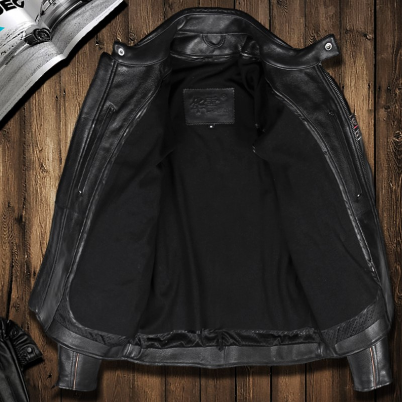 Spring And Autumn Male Motorcycle Leather Jacket Thick Cowhide Genuine Leather Clothing Male Stand Collar Slim Outerwear