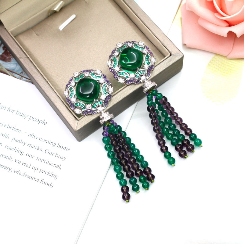 925 pure silver fashion brand upscale atmospheric grandmother green earrings micro inlaid beads tassel lady earrings