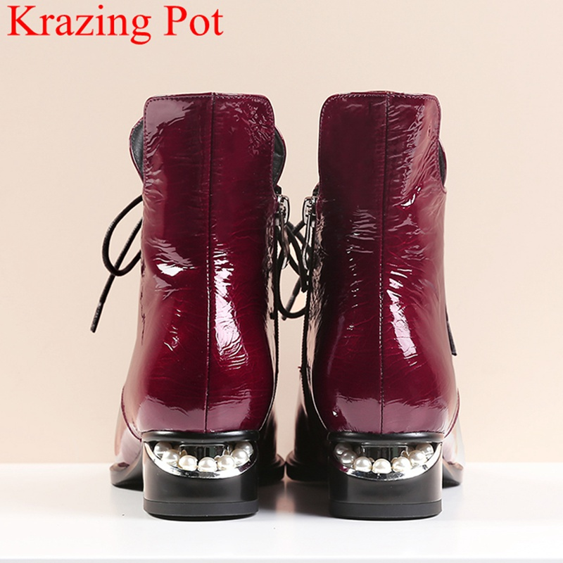2019 superstar pearl pointed toe keep warm zipper ankle boots elegant motorcycle boots brand pearl heels