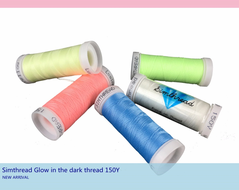 New arrival Simthread glow in the dark embroidery thread 150Y x 5 assorted colors for beginners