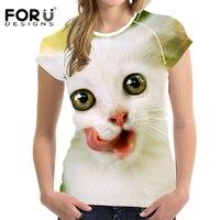 FORUDESIGNS T shirt t-shirt Das Mulheres de Verão 2018 das Mulheres Da Moda Animal Gato Impressão tshirt Mulher Maravilha Roupas Kawaii Nova Chegada