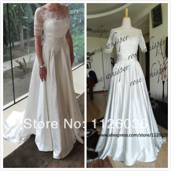 2017 New Style Real Sample Wedding Dress Boat Neck Sheer Lace Top Half Sleeves Silk Satin Bottom A Line Bridal Gown Custom In Dresses From