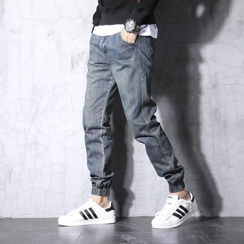 Fashion Streetwear Men Jeans Retro Blue Wash Slim Fit Korean Style Vintage Designer Joggers Pants Slack Bottom Hip Hop Jeans Men