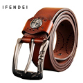 IFENDEI PU Leather Belt Men Casual Luxury Designer Men's Belts Korean Fashion Tide Jeans Male Buckle Wide Strap Ceintures Homme