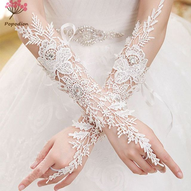 White Lace Hollow Out Bridal Fingerless Gloves Woman Long Wedding Accessories For Brides