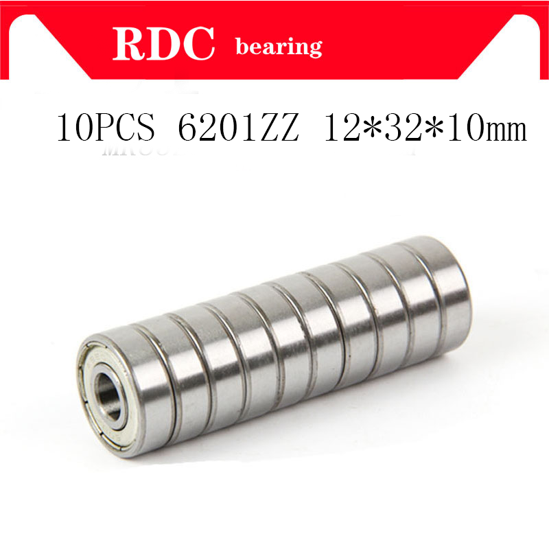 Free Shipping 10PCS 6201ZZ 6201zz 6201 6201 2RS 12 *32 *10mm Deep Groove Ball Bearings 12 X 32 X 10mm