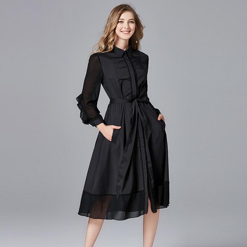 2019 mode design femmes arc a-ligne casual robes couleur noire grande taille printemps automne femmes marque noir a-ligne robe