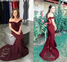 Sexy 2019 Prom Dress Burgundy Beaded Sequined Mermaid Prom Dresses Lace Applique Off Shoulder Floor Length burgundy sexy off shoulder wrapped sweater