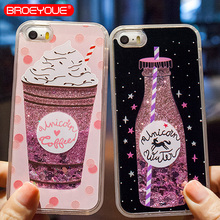 BROEYOUE Quicksand Phone Case For iPhone 5 5S SE Dynamic Liquid Glitter Drink Bottle Case For iPhone 5 5S Cases Back Cover Capa perfume bottle style rhinestone inlaid back case w strap for iphone 5 5s white golden