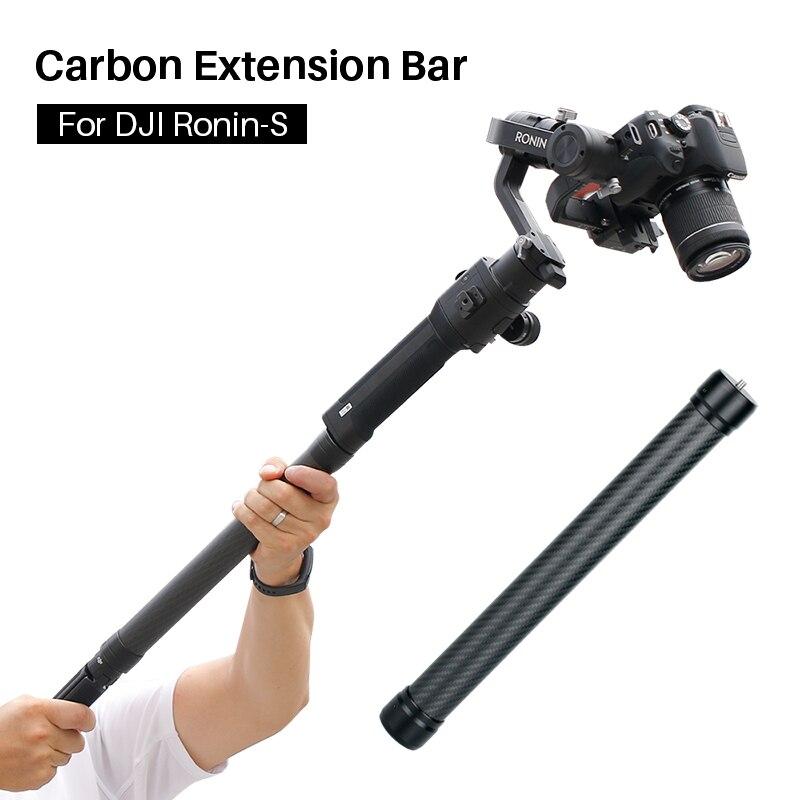 Profesional de fibra de carbono poste de extensión palo 1/4 ''3/8 hilo estabilizador vara Monopod para DJI Ronin S Moza aire 2 zhiyun Crane 2