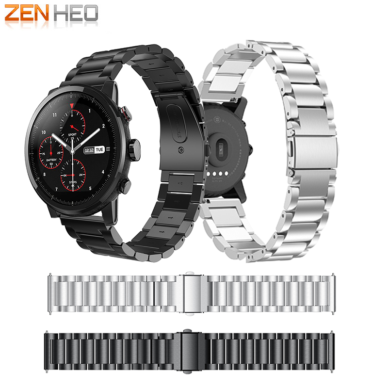 ZENHEO 22mm For Amazfit Strap for Xiaomi Huami Amazfit Pace Stratos 2 Strap Metal Stainless Steel Bracelet For Amazfit 2 Band in Smart Accessories from Consumer Electronics
