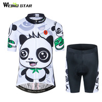 Weimostar Children Panda Cycling Jersey Set Cute Kids Bicycle Cycling Clothing Short Sleeve Boy Girl Road
