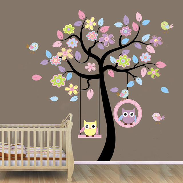 Color Flower Tree Wall Sticker Owl And Butterfly Wall Covering 2pcs Package Wall  Decor Kids Room Decoration