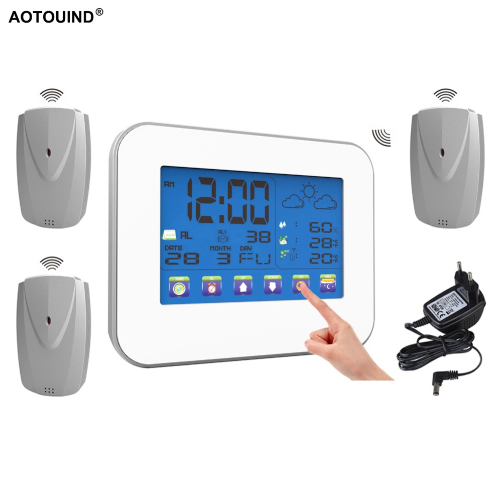 AOTOUIND Weather Instrument Touch Screen Wireless Weather Station Clock with Indoor Outdoor Thermometer T01 Adapter 3