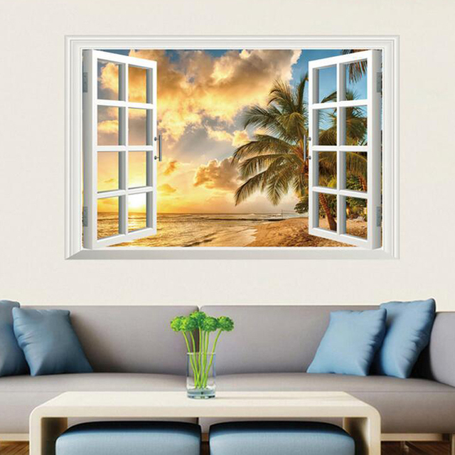 3d Fake Window Landscape Wall Stickers Removable Living Room Beach Wall  Decals Home Decor Nature Wall
