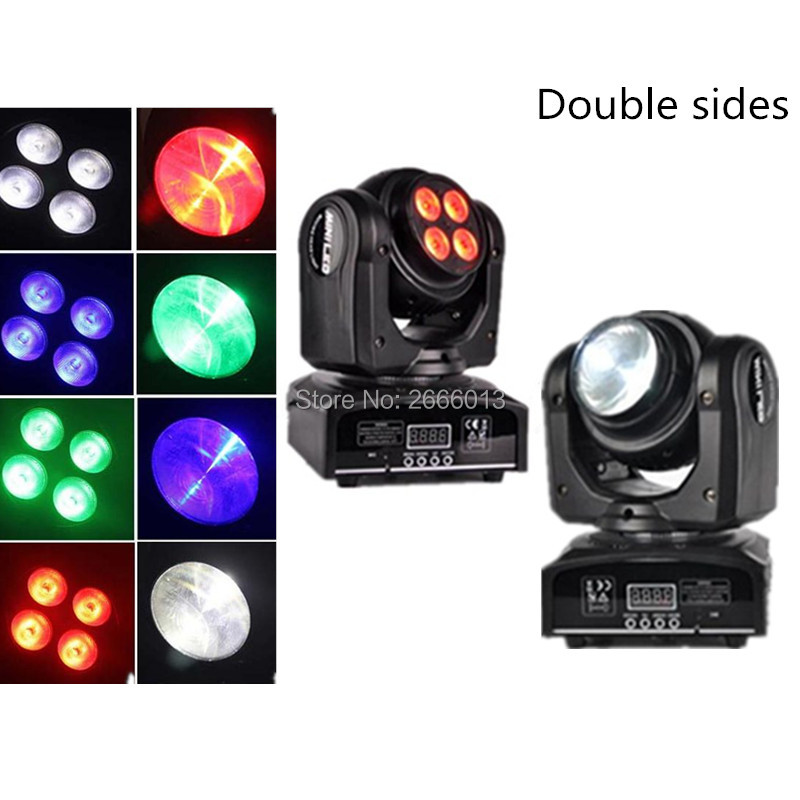 2pcs/lot RGBW 4*10W+10W 15/21 Channel DMX 512 LED Double Sides Beam Infinite Rotating Moving Head LED Stage Light Pattern Lamp