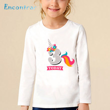 Girls Birthday Unicorn Number 1 9 Print T Shirt Baby Funny Long Sleeve Tops Kids