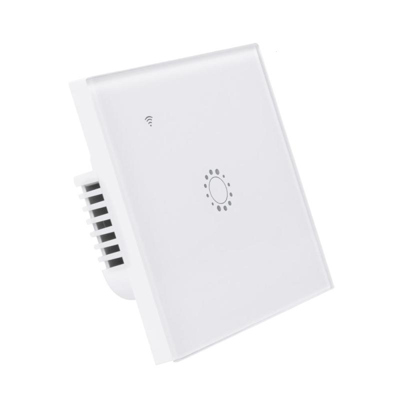 QIACHIP EU Plug Wifi Smart LED Light Wall Switch Touch Luxury Glass Panel Timer Switch Remote Control Work with Alexa Z2 Z3