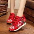 Plataforma de La Moda rojo de alta calidad caliente en invierno con la piel de las mujeres del bordado nacional de suela suave zapatos bajos botas de damas zapatos