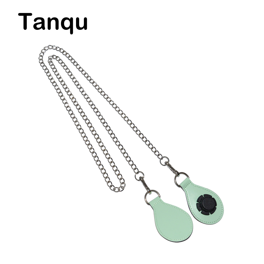TANQU Silvery Shoulder Chain Strap with 12 Color PU Drop Shape Attachment for Obag O basket Strap Chain for O Bag Obasket