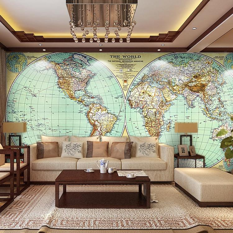 Free Shipping large murals retro world map wallpaper living room sofa wallpaper mural