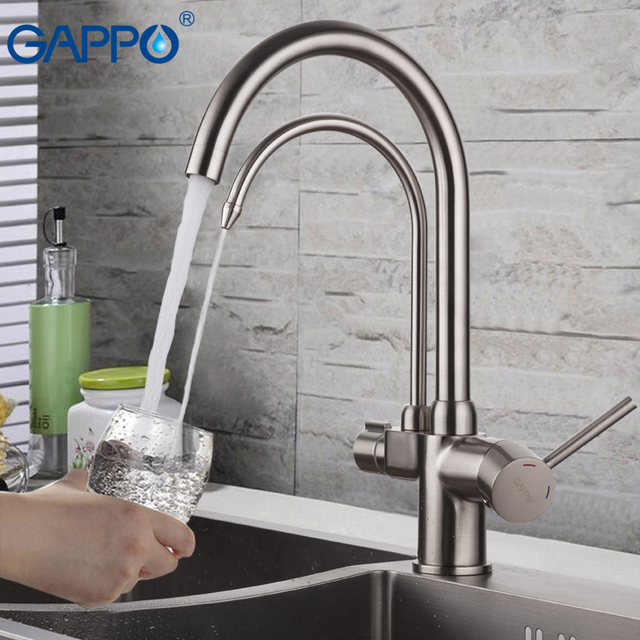 Kitchen Faucet Filter Ikea Cart Gappo With Filtered Water Brass Sink Mixer Crane