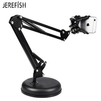 JEREFISH Foldable Cell Phone Holder Desk Bracket Mount Adjustable Heavy Duty Long Arm Clamp Metal Base Stable Lock on Joint