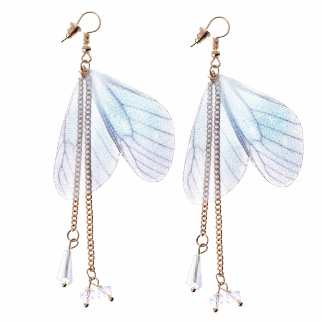 Aliexpress buy fashion jewelry earring with butterfly wings fashion jewelry earring with butterfly wings and acrylic pendants blue beautiful wings for women ew170406 mozeypictures Image collections