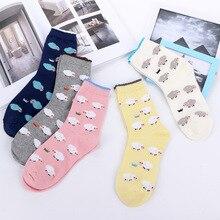 цена Women socks cotton Harajuku Cute Cartoon Goat Women's Socks Happy Funny socks онлайн в 2017 году