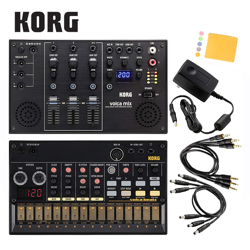 Korg Volca Beats Analogue Drum Machine Bundle with Korg Volca Mix and Polishing Cloth [Volca Beats+Volca Mix+Polishing Cloth] korg pa4x 76