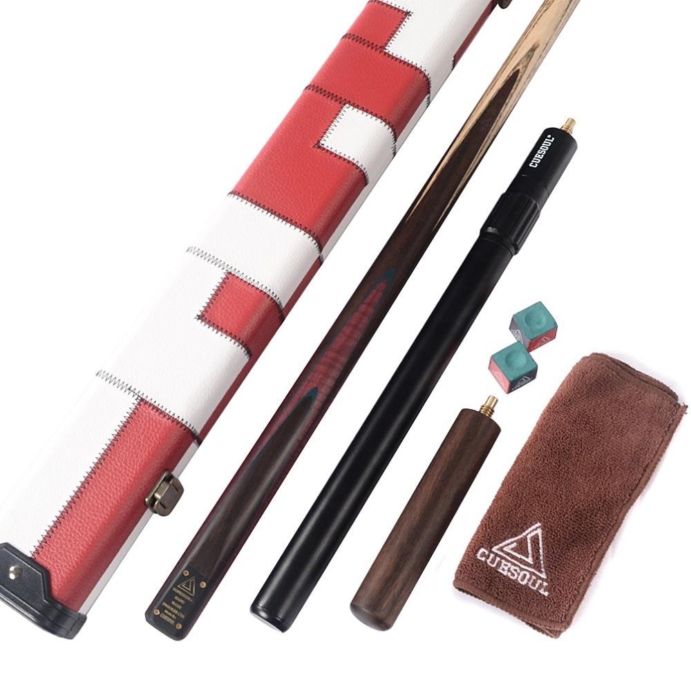 "CUESOUL D411 57 ""18 oz 1 Stück Handgefertigter Snooker Queue mit Aluminium-Teleskopverlängerung Snooker Queueetui mit Queuekreide, Queue-Handtuch"