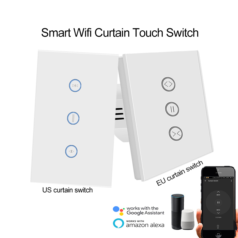 EU/UNS Wifi Vorhang Wand Schalter Steuerung über APP Voice Control durch Alexa Google für Elektrische motorisierte Vorhang Blind rollladen