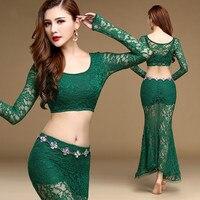 4 colores de Encaje de manga Larga Tops de la danza del vientre conjunto traje de la Sirena de la falda conjunto de danza del vientre Trajes de Danza Bollywood