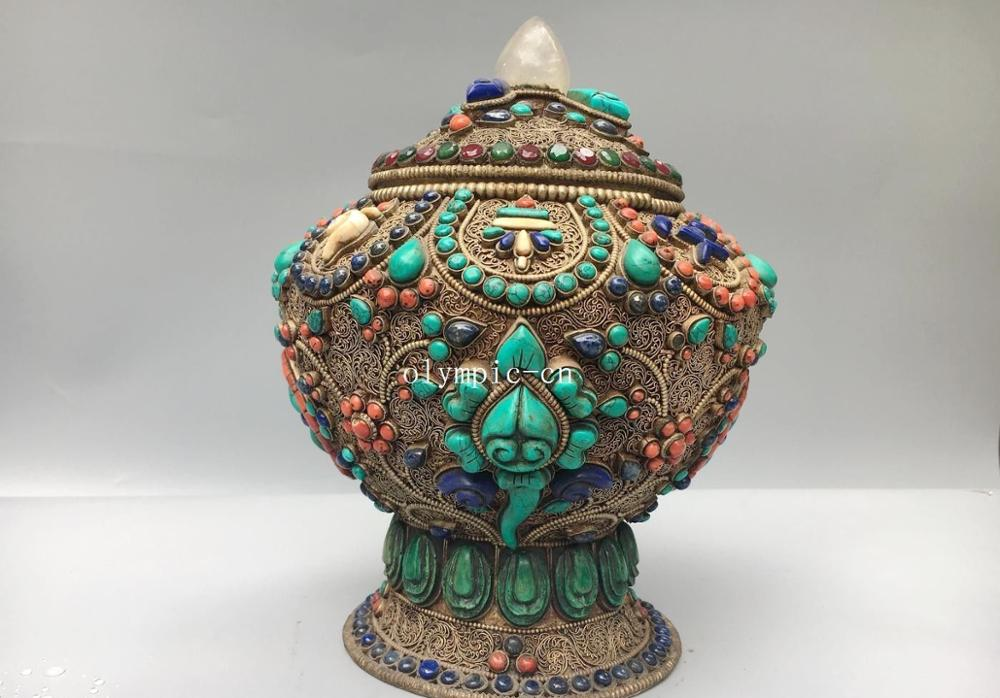 9''Tibet Nepal Handcraft Pure Silver Filigree Inlay Gem Turquoise Coral Box Jar