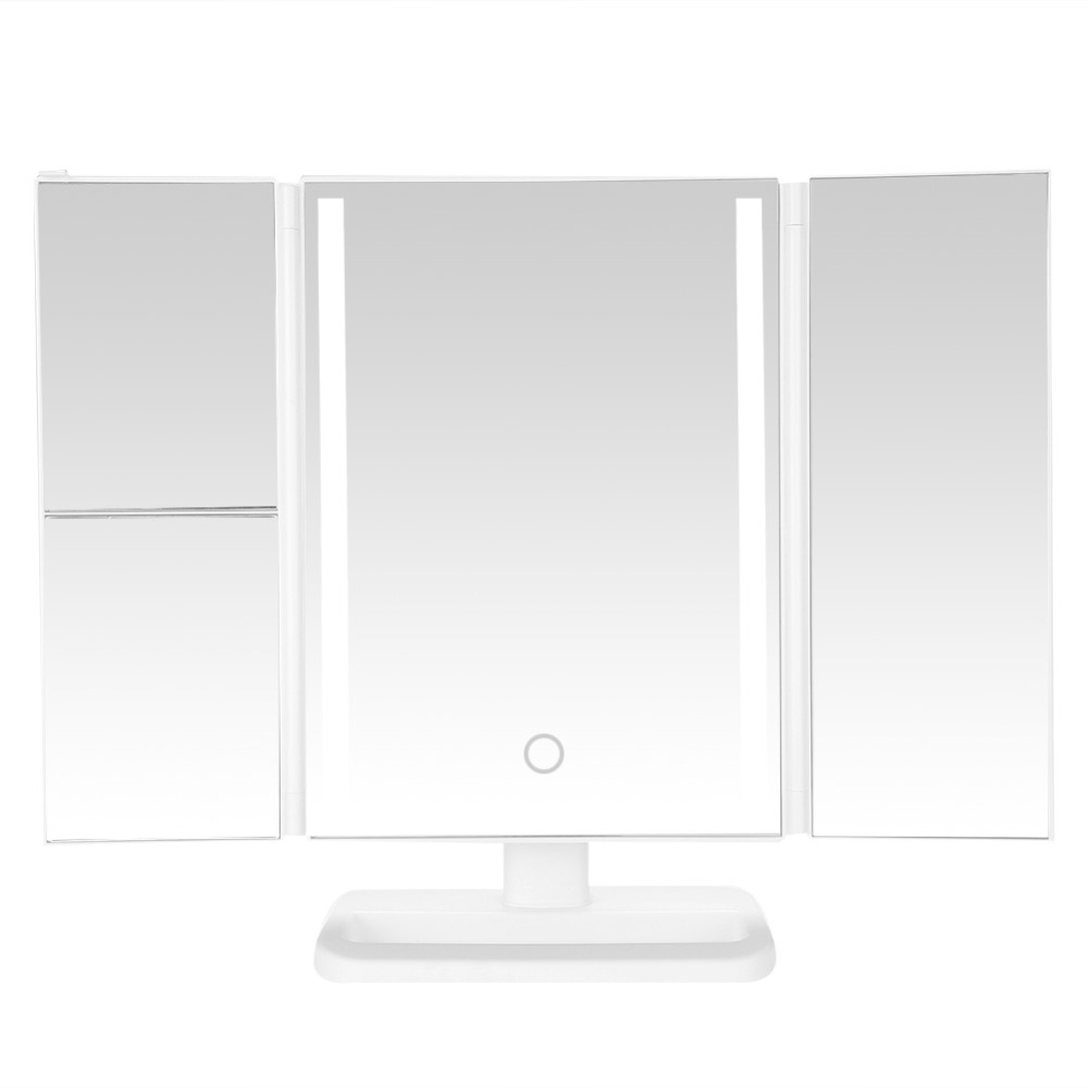 Makeup Mirror With LED Light Tri-Fold 24 LED Lighted Vanity Adjustable Cosmetic Make up Mirror Bathroom Desktop Mirror