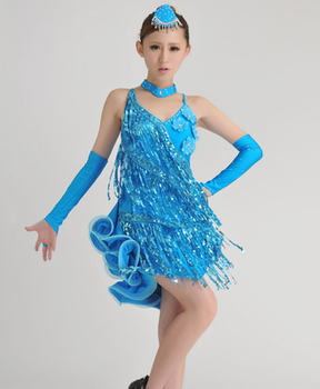 new Girl Latin Dance Dresses Sequin/Tassel style Cha Cha/Rumba/Samba/Ballroom/Tango Dance Clothing Kids Dance Costume 2541#